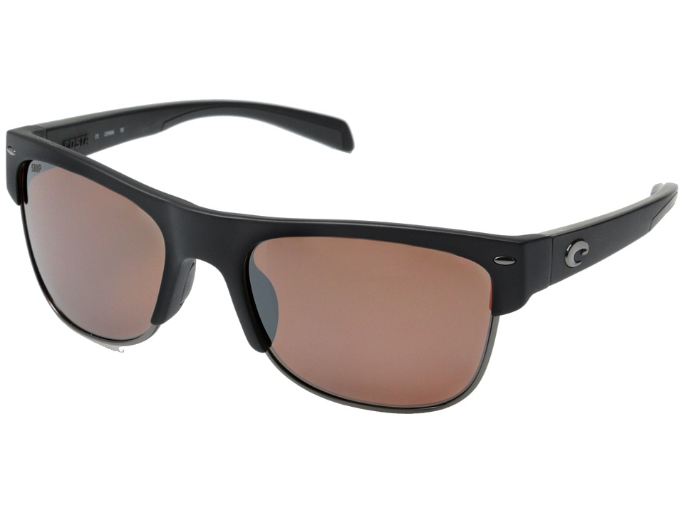 Costa Costa Pawleys 580 Mirror Plastic Matte Black/Silver Mirror 580P Plastic Lens Fashion Sunglasses