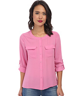 Brigitte Bailey - Classic Long Sleeve Roll Tab Two-Pocket Top