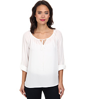 Christin Michaels - Long Sleeve Roll Tab Peasant Top