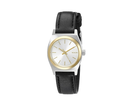 Nixon Small Time Teller Leather - Silver/Gold/Black