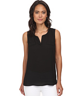 Christin Michaels - Sleeveless Split Neck Top w/ Besom Pockets