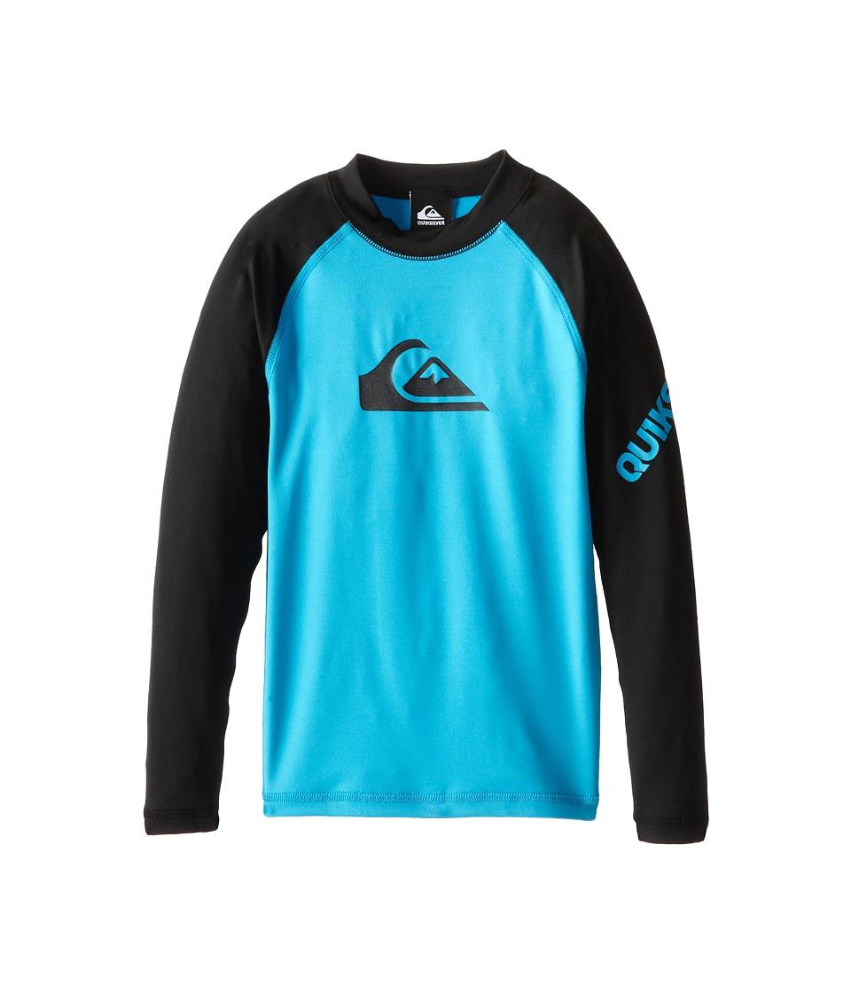 Quiksilver Kids All Time Long Sleeve Surfshirt Rashguard Big Kids Hawaiian Ocean Boys Swimwear