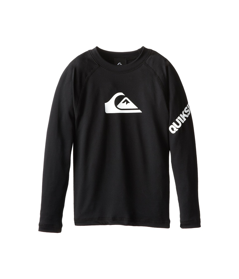 Quiksilver Kids All Time Long Sleeve Surfshirt Rashguard Big Kids Black Boys Swimwear