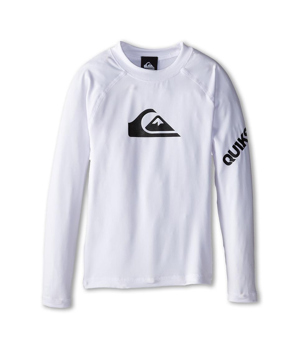 Quiksilver Kids All Time Long Sleeve Surfshirt Rashguard Big Kids White Boys Swimwear
