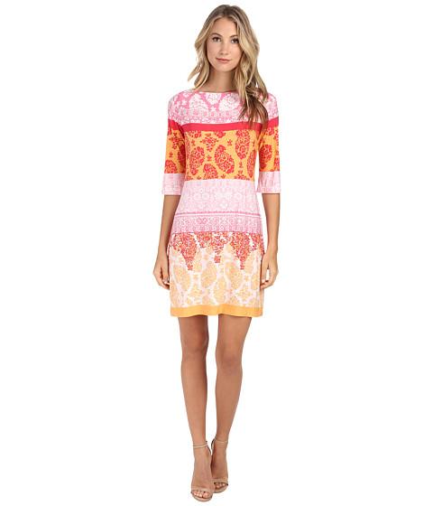 Donna Morgan - 3/4 Sleeve Lace Print Jersey Shift (Parasol Multi) Women's Dress