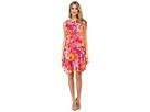 Donna Morgan Sleeveless Chiffon Floral Print Shift (Pink Multi)