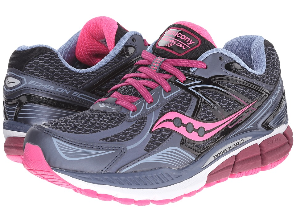 Saucony - Echelon 5 (Grey/Pink/Berry) Womens Running Shoes