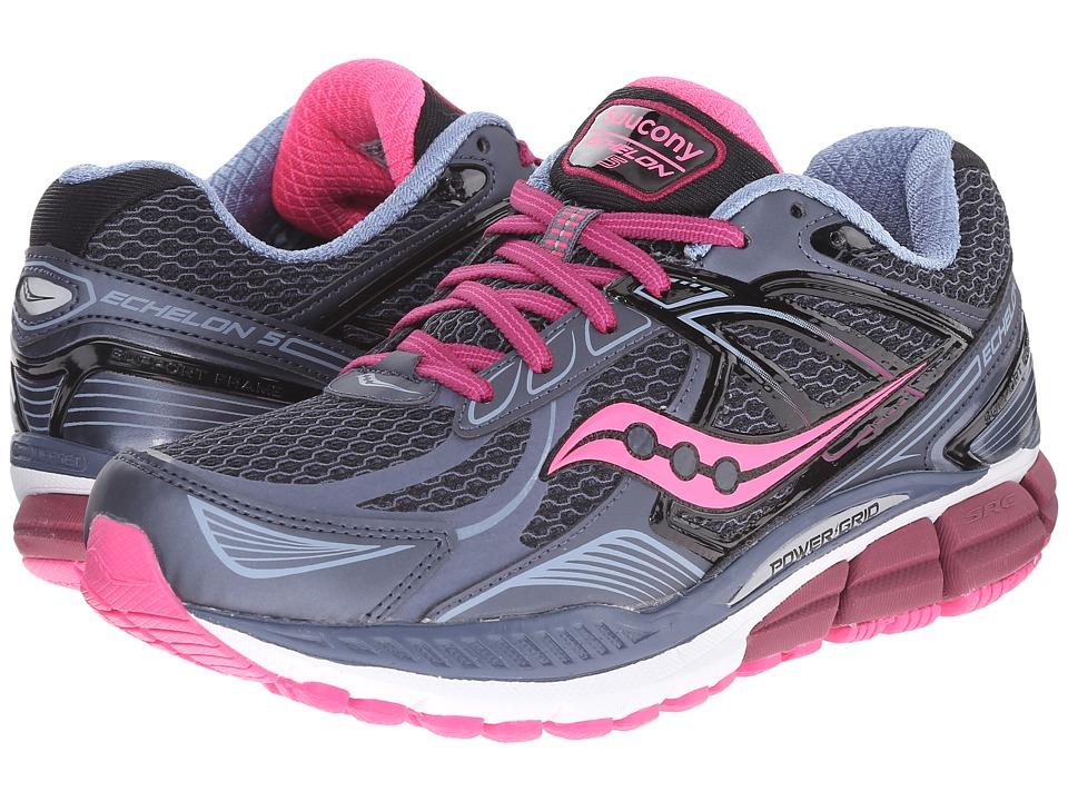 Saucony Echelon 5 (Grey/Pink/Berry) Women's Running Shoes