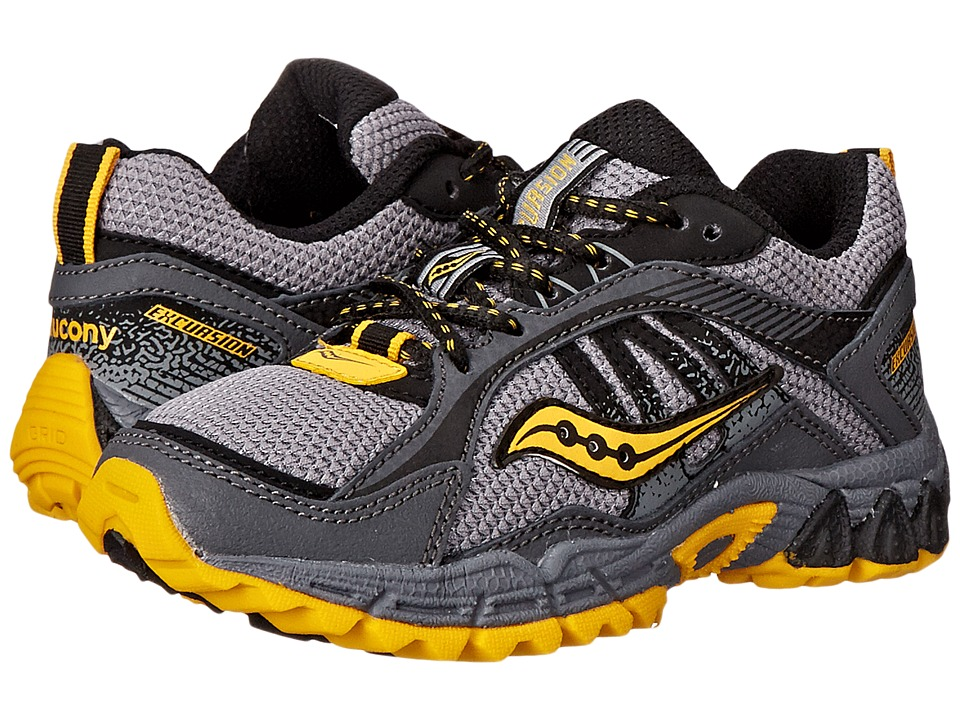 Saucony Kids Excursion Little Kid/Big Kid Grey/Black/Yellow Boys Shoes