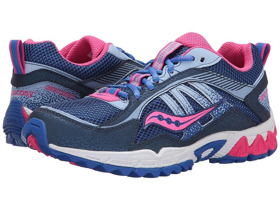 Saucony Kids Excursion Little Kid/Big Kid Navy/Blue/Pink Girls Shoes