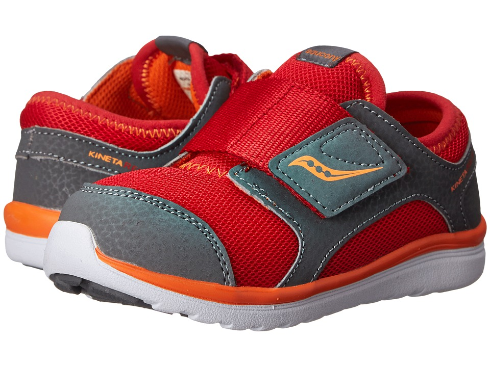 Saucony Kids Kineta A/C Toddler Red/Grey/Orange Boys Shoes