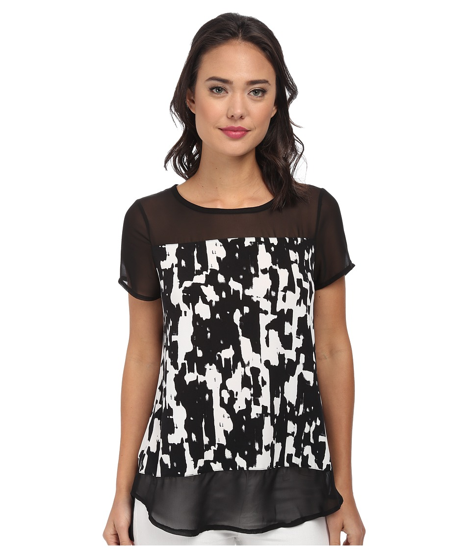 Image of Vince Camuto Short Sleeve Graphic Moods Top w/ Chiffon Sleeve/Hem (Rich Black) Women's Clothing