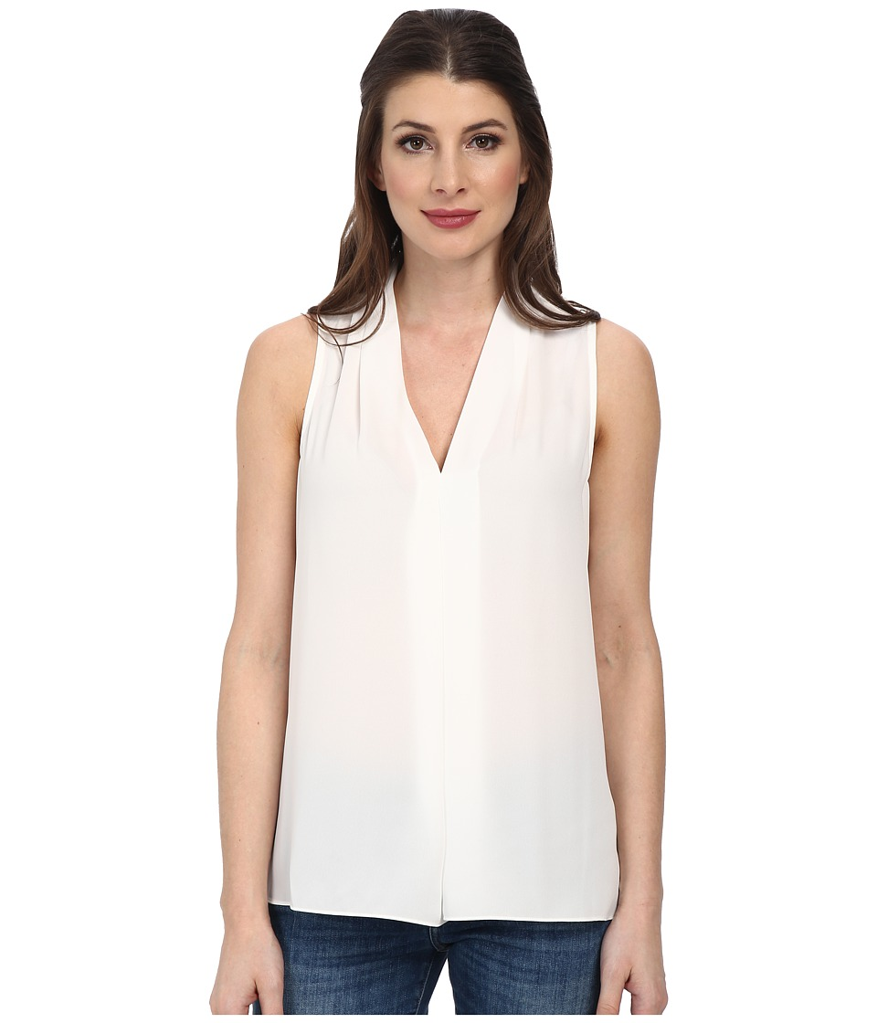 Vince Camuto Sleeveless V-Neck Blouse w/ Inverted Front Pleat (New Ivory) Women