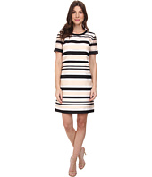 Vince Camuto - Short Sleeve Organza Stripe Shift Dress