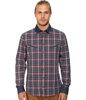 BOSS Orange - Epunke Indigo Check Slim Fit Long Sleeve Button Up Shirt w/ Round Shaped Welt Pockets