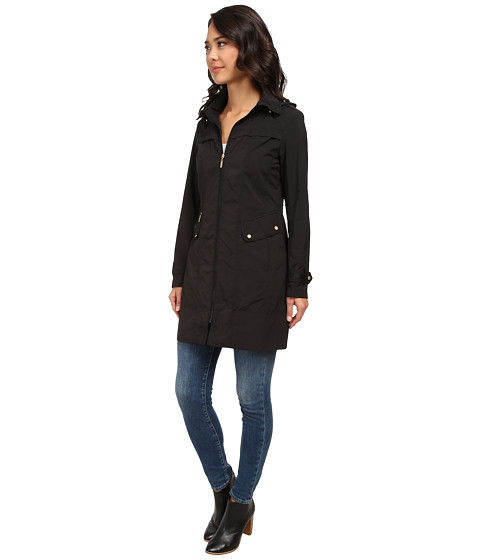 "Cole Haan 34"" Single Breasted Hooded Raincoat - 6pm.com"