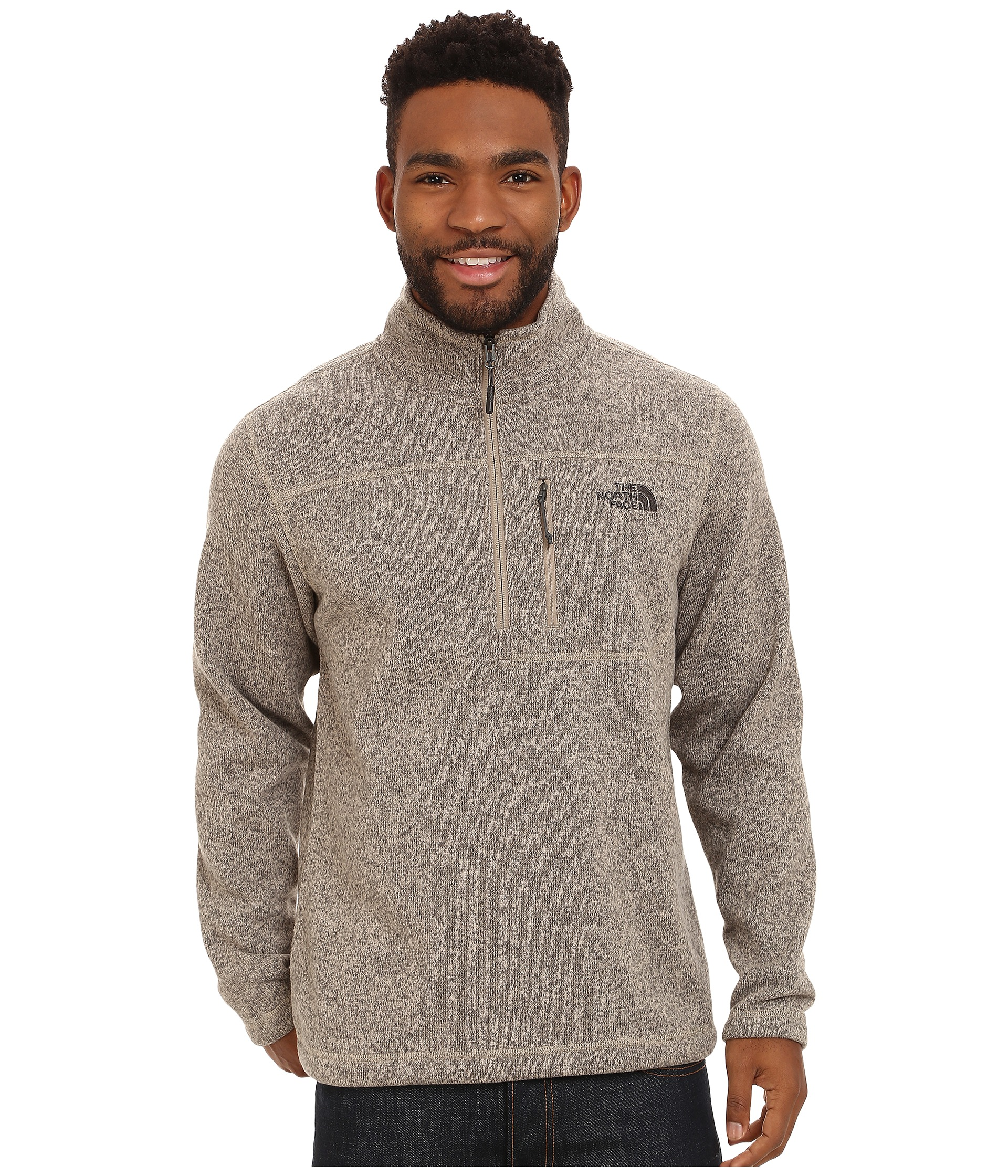 the north face gordon lyons 1 4 zip pullover dune beige heather free shipping both ways. Black Bedroom Furniture Sets. Home Design Ideas
