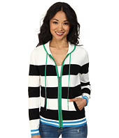 TWO by Vince Camuto - Jersey Stripe Full Zip Hooded Sweater