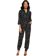 TWO by Vince Camuto - Feathered Dash 3/4 Sleeve Utility Jumpsuit