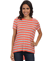 TWO by Vince Camuto - Split Back Stripe Tee w/ Woven Shirt Tail