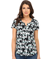 TWO by Vince Camuto - Short Sleeve Tropic Effect Split Neck Tee