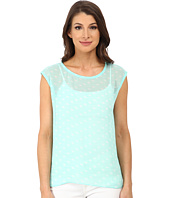 TWO by Vince Camuto - Short Sleeve Stamped Polka Dot Split Back Tee
