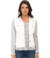 TWO by Vince Camuto - French Terry Hooded White Denim Jacket