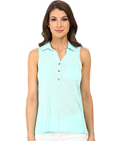 TWO by Vince Camuto - Sleeveless Mixed Media Two-Pocket Utility Shirt