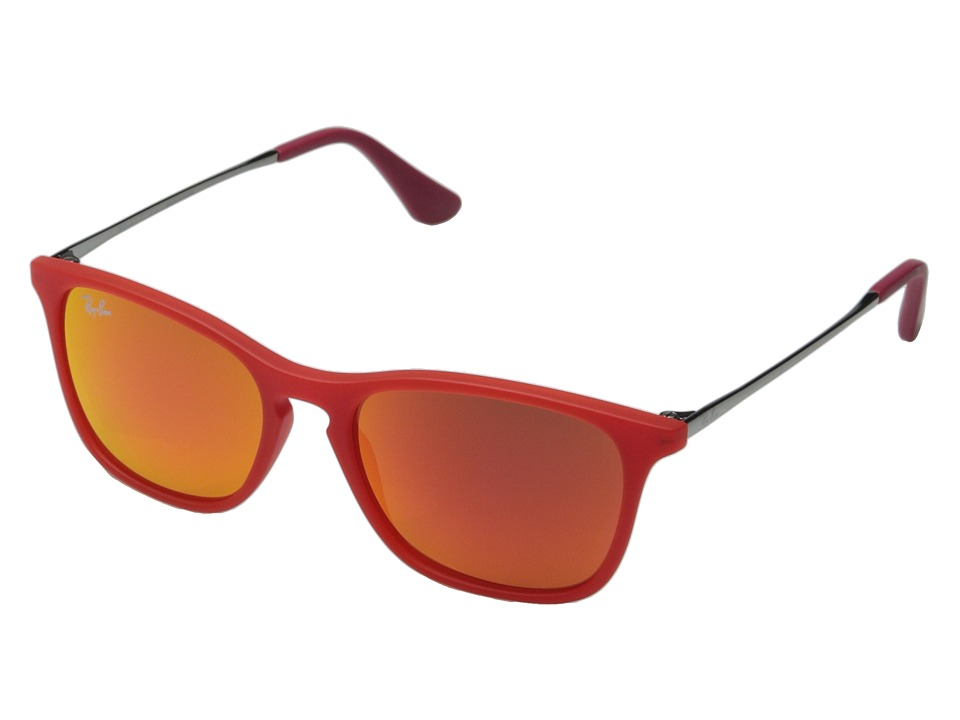 Ray Ban Junior 0RJ9061S Chris 49mm Youth Red Rubber/Red Mirror Fashion Sunglasses