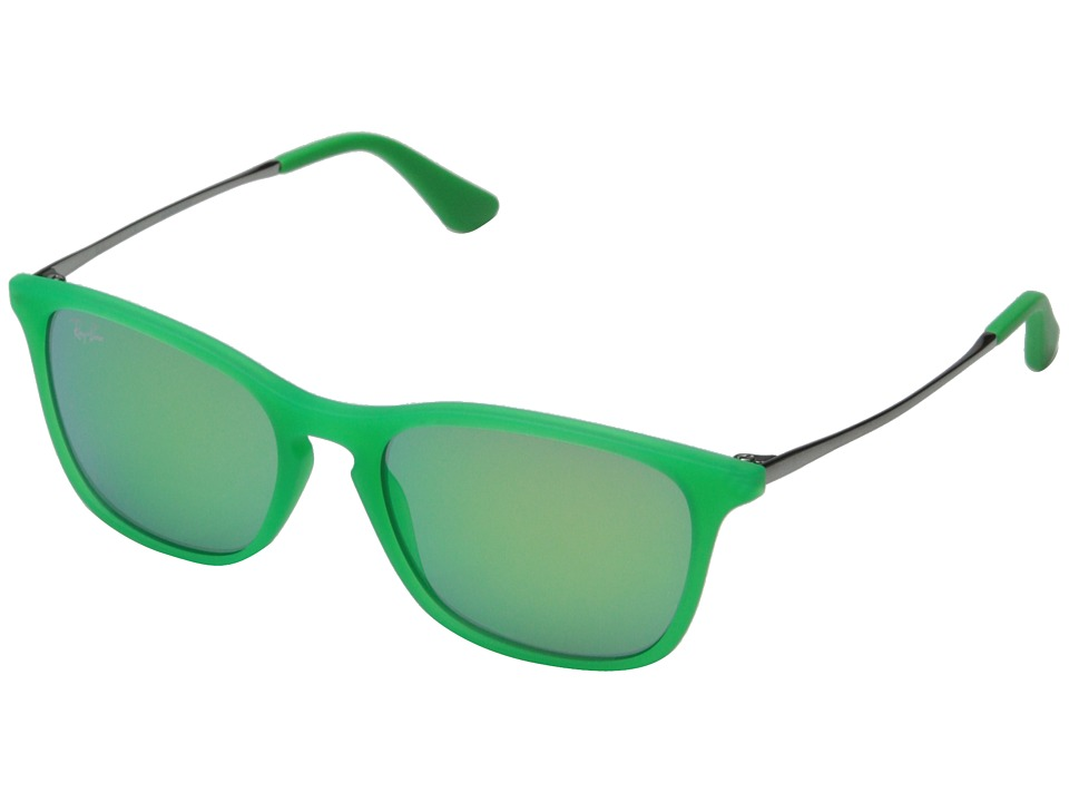 Ray Ban Junior 0RJ9061S Chris 49mm Youth Green Rubber/Green Mirror Fashion Sunglasses