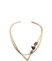 Alexis Bittar - Geometric Hinge Collar w/ Floating Pyrite Doublets & Fancy Black Crystal Shield Necklace