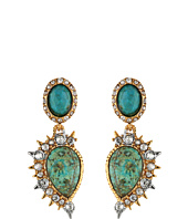 Alexis Bittar - Crystal Studded Spur Trimmed Dangling Post w/ Rose Cut Chrysocolla Earrings