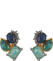 Alexis Bittar - Crystal Studded Spur Trimmed Chrysocolla & Amazonite Crystal Doublet Button Clip Earrings