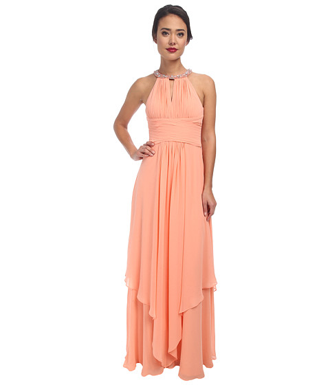 Donna Morgan Siena Beaded Halter Long Gown