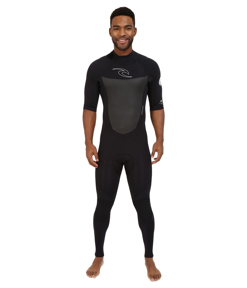 Rip Curl Dawn Patrol Back Zip 2/2 Short Sleeve Full Suit Black Mens Wetsuits One Piece