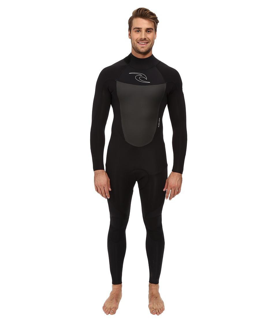 Rip Curl Dawn Patrol Back Zip 3/2 GB Full Suit Black Mens Wetsuits One Piece