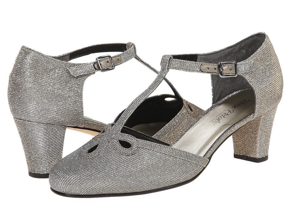 Rose Petals - Belle Pewter Sparkle Fabric Womens  Shoes $90.00 AT vintagedancer.com
