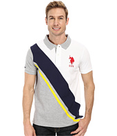 U.S. POLO ASSN. - Diagonal Striped Color Block Slim Fit Pique Polo