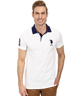 U.S. POLO ASSN. - Slim Fit Big Horse Polo w/ Stripe Collar