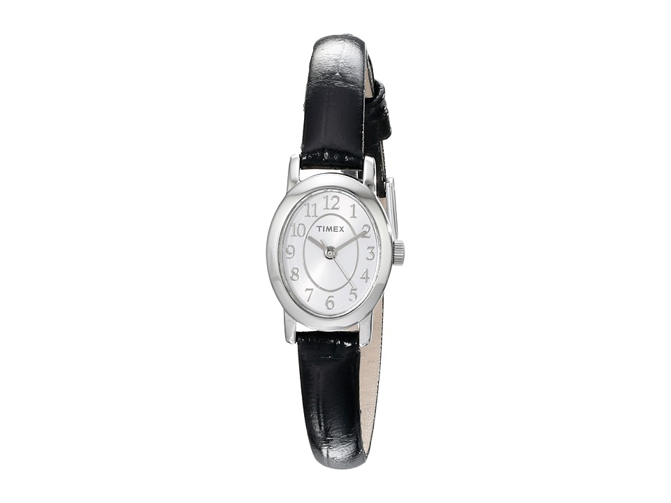 Timex Cavatina Leather Strap Watch Silver Tone/Black Watches