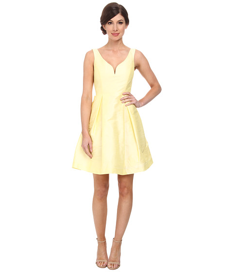 Donna Morgan - Ruby V-Neck Bodice Shantung Dress (White) Women's Dress