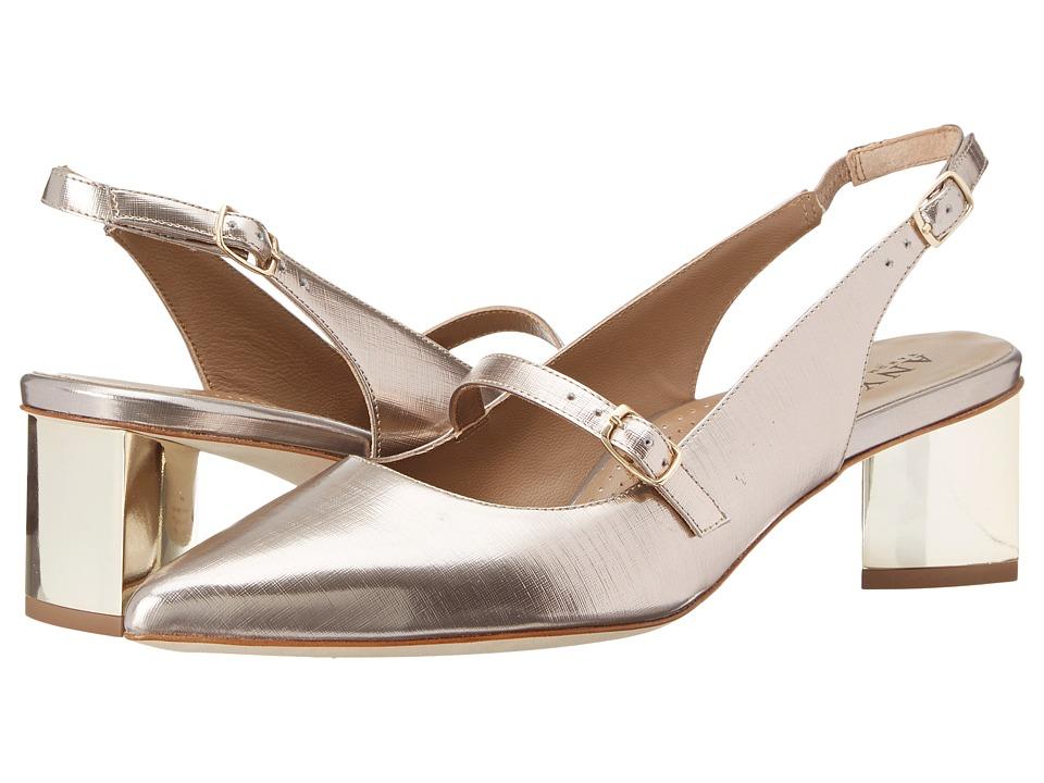 Anyi Lu Gigi Champagne Linen Womens 1 2 inch heel Shoes