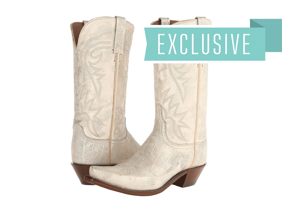 Lucchese - N9673.S54 (Silver/Off White) Cowboy Boots