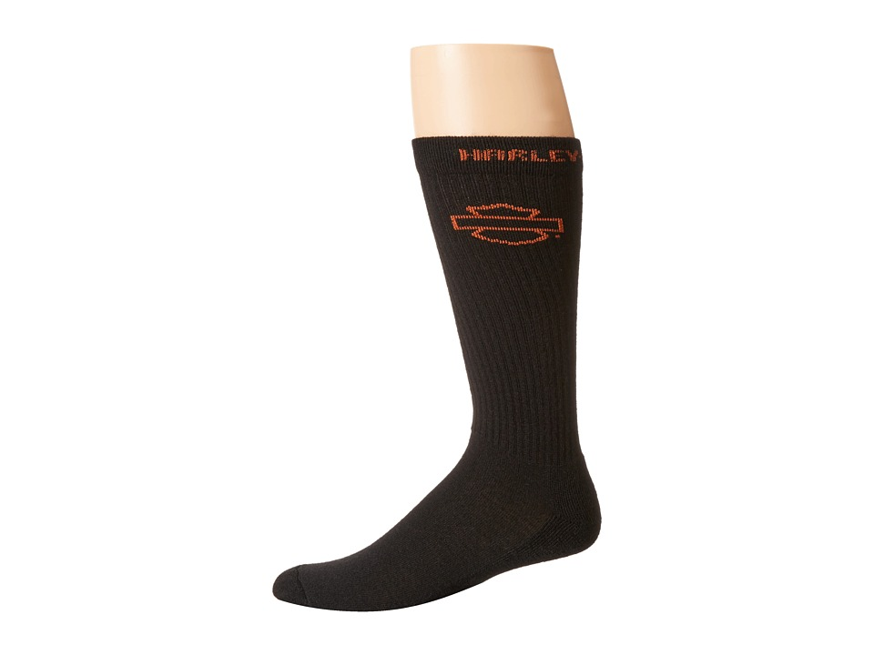 Harley Davidson All Weather Over The Calf Sock 2 Pack Black Mens Crew Cut Socks Shoes