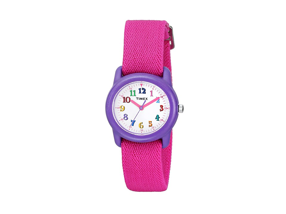 Timex - Analog Elastic Fabric Strap Watch (Youth) (Pink/Purple/White) Watches