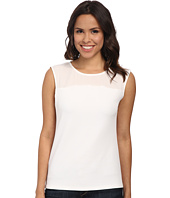 Calvin Klein - Short Sleeve Text Knit w/ Crepe De Chine