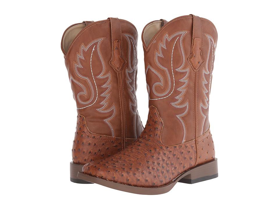 Roper Ostrich Print Square Toe Cowboy Boot (Light Beige) Cowboy Boots