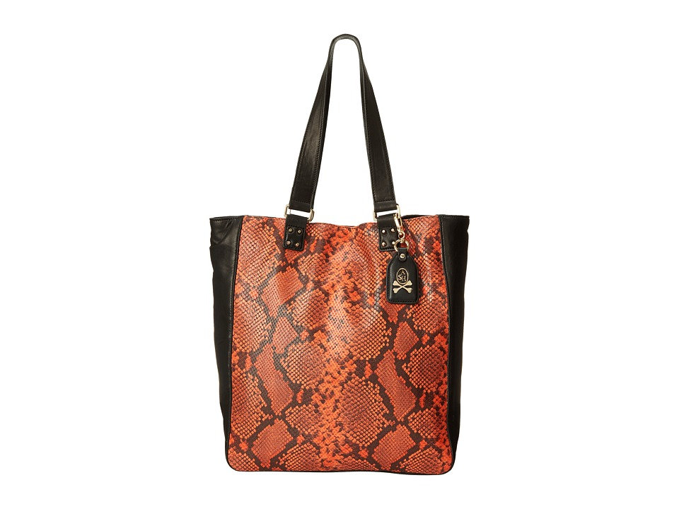 ASH Indy Python Tote Orange/Black Tote Handbags