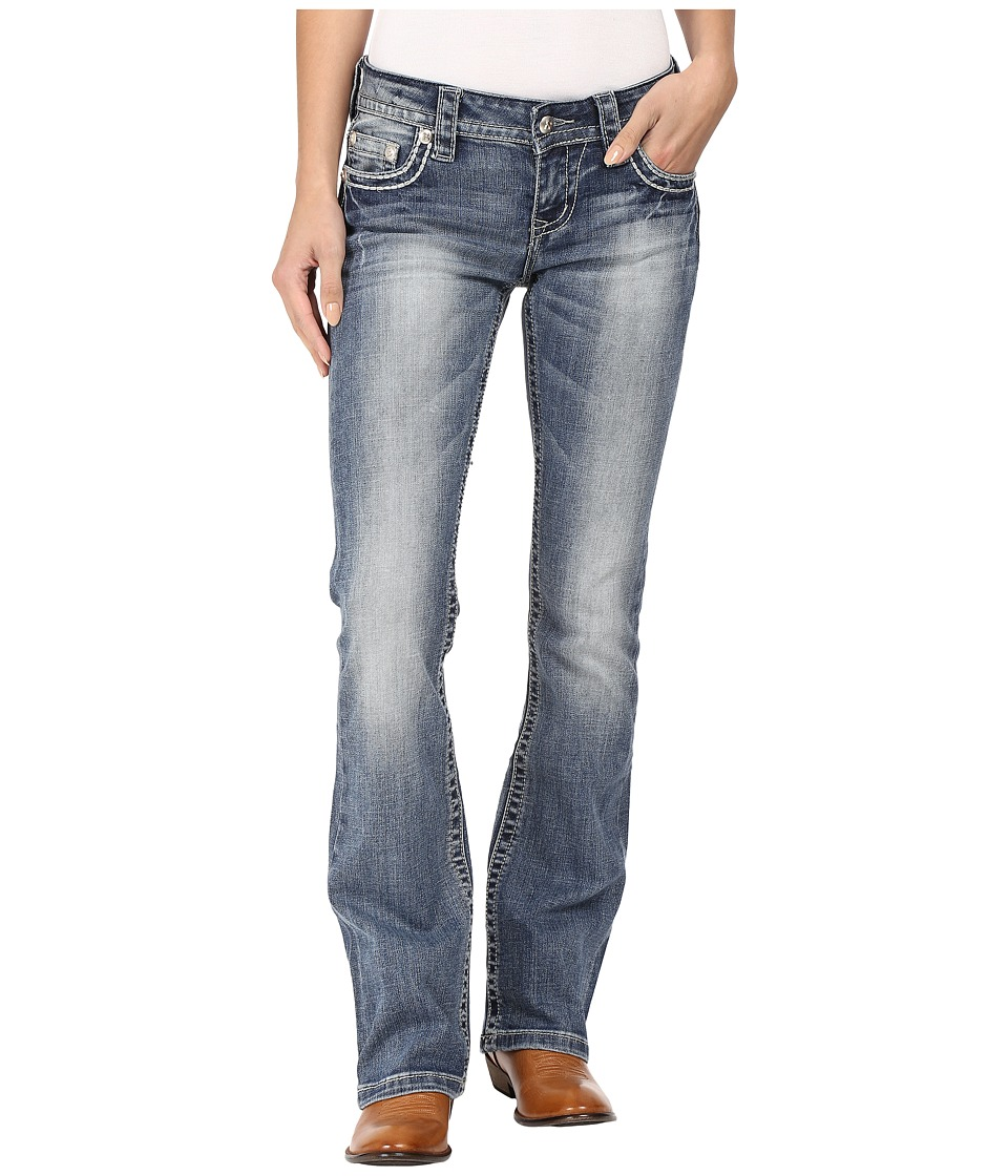 Stetson 818 Contemporary Bootcut with Heavy Contrast Stitch and Flap Back Pocket (Blue) Women