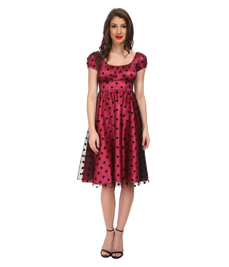 Stop Staring - Clara Swing Dress Hot PinkBlack Dot Womens Dress $223.00 AT vintagedancer.com